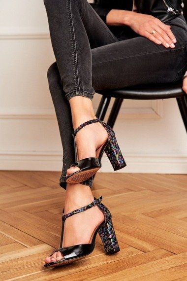 Women's Sandals On High Heel Laura Messi 1916 Leather Black Crystals