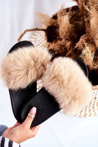 Women's Slides With Natural Fur Beige Bushido