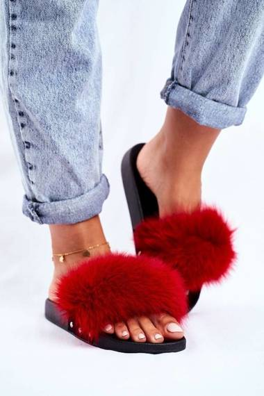 Women's Slides With Natural Fur Red Bushido