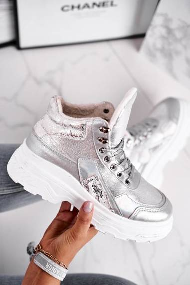 Women's Sport Shoes Warm High Silver Davan