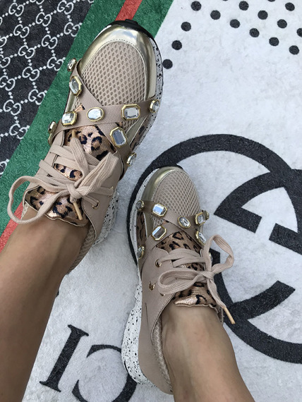 Women's Beige lace up  trainers Glamour