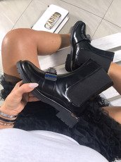 Black Flat Chelsea ankle boots Stone