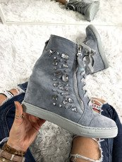 Baby Blue High-top trainers with crystals Paris