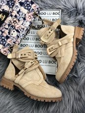 Beige Suede Cut Out Boots
