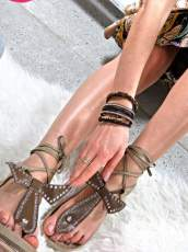 Faux Brown suede Studded Gladiator Sandals