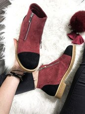 Berry Ankle Shoes With Fancy Zippers