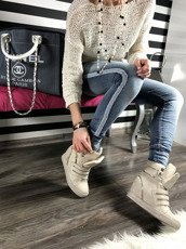 Beige Hi Top Sneakers Wedges With Fancy Zips