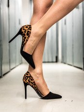 Leopard print pointed toe D'Orsay heel