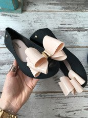 Rubber Shoes Ballet Flats With a Bow Missing