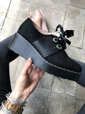 Studded Creeper Boots with Satin Bow