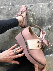 Pink Studded Creeper Boots with Satin Bow