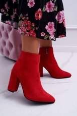 Women's Boots On Heel Suede Red Sharks