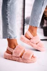 Women's Furry Slippers on the Platform Orange Cotton Candy